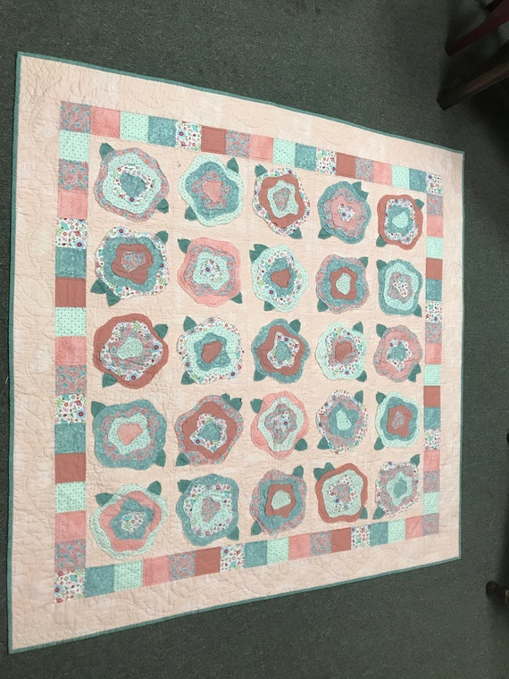 French Roses Rag Quilt Handmade Hand Quilted