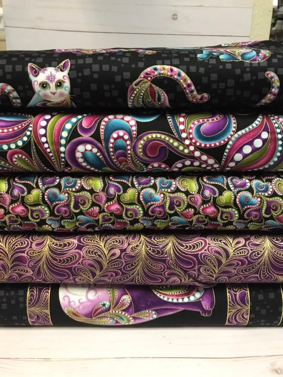 Cat-I-tude Bundle includes Panel, Feather Frolic Purple, Swirling Hearts Black, Paisley black and Aristocrats