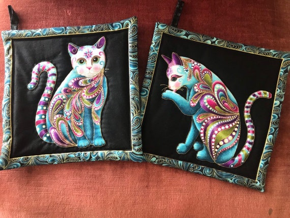 Set of 2 Hot Pads featuring Ann Lauer Cat-I-tude choose Teal, Purple or Red