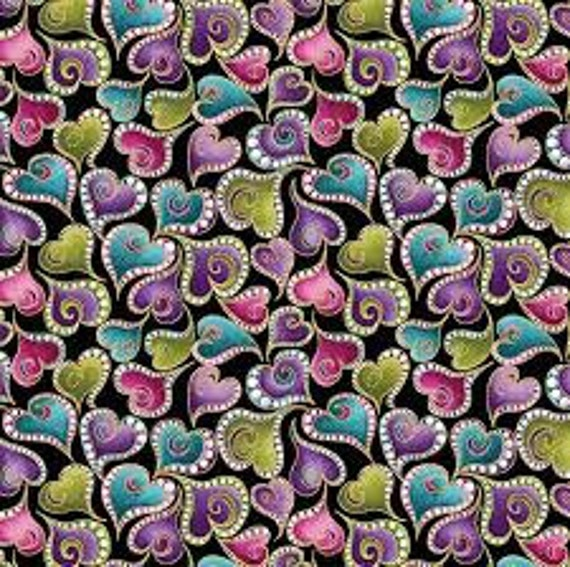 Cat-i-tude Coordinating Hearts Fabric by Ann Lauer 4204M 12 Black Swirling Hearts By the Yard