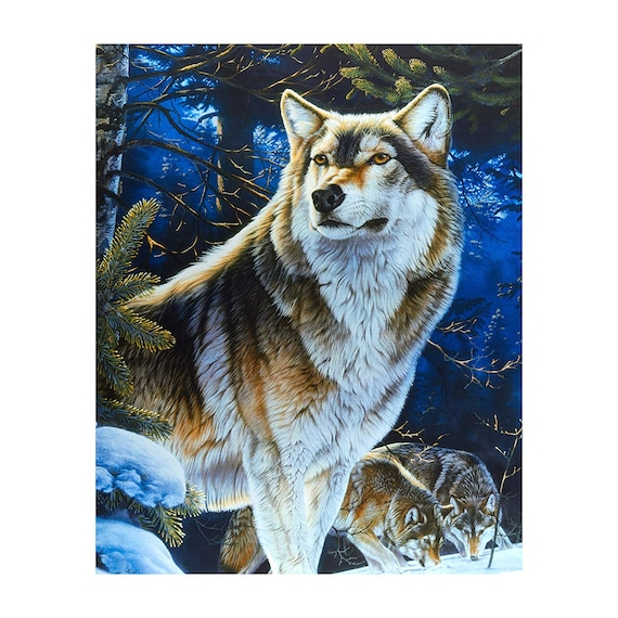 Sentinel Wolf Digital Print Fabric by David Textiles Bold Colors