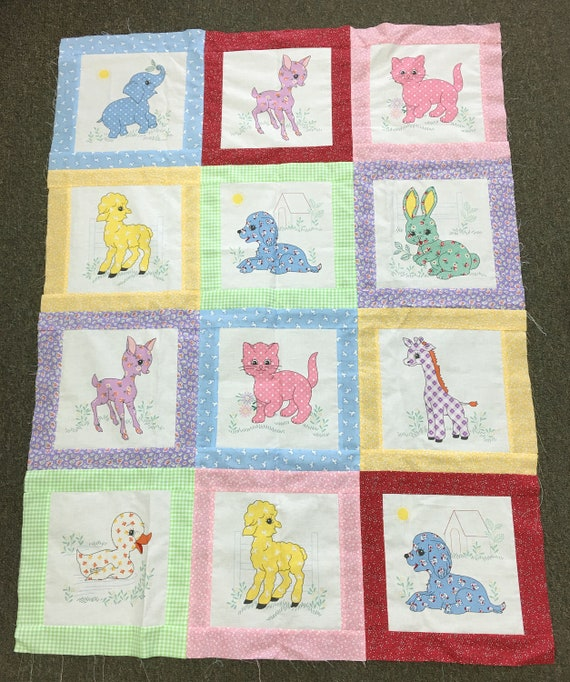Calico Animals Pre Cut Quilt Kit Colorful Prints