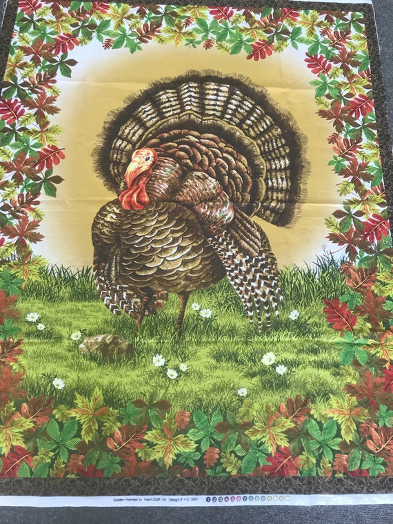 Fall Golden Harvest Turkey Panel by Fabri-Quilt 112-3091 Thanksgiving