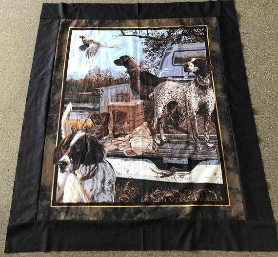 Dog Days Pheasant Pre Cut Quilt Kit Hunting Pointer Setter Dog Pheasant Hunter Outdoors Truck