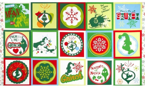 How the Grinch Stole Christmas Flannel Cotton Panel ADEF-13671-205