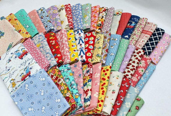 10 Fat Quarters  1930's -1950's  Depression Era Vintage Reproduction Assorted Fat Quarter Bundle M229.02