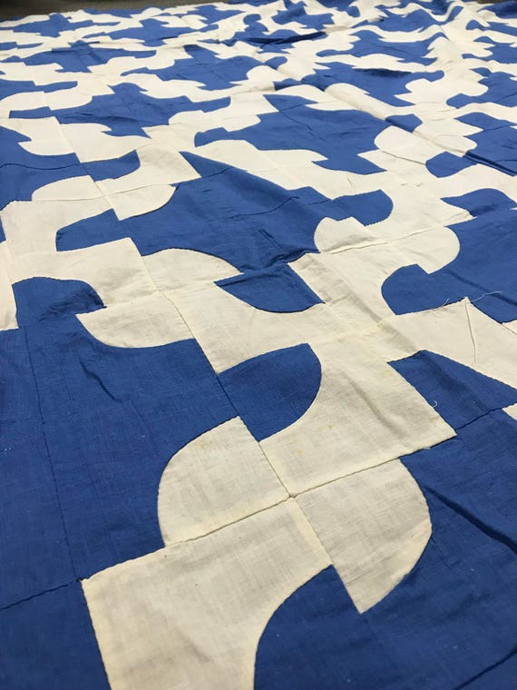 Blue and White Drunkards Path Quilt Top