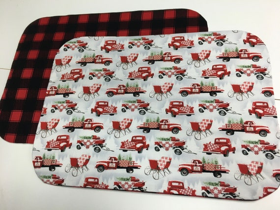 Red truck buffalo plaid placemat