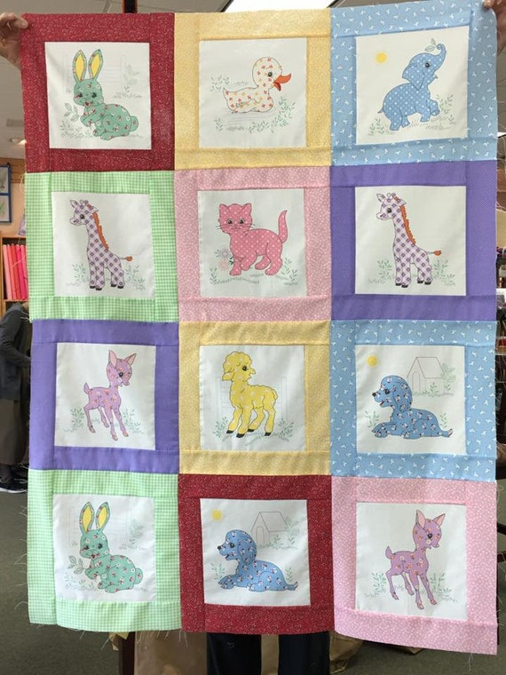Calico Colors Baby Animals Quilt Top, Finished Quilt or Quilt Kit!