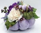 Purple Fabric Pumpkin as Fall Table Decor for Thanksgiving, with mini velvet pumpkins, Fall Wedding Decor, Stuffed Pumpkins