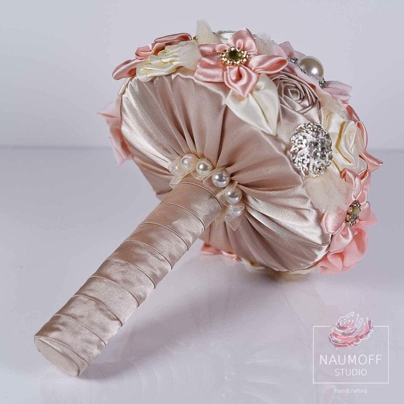 Pastel Wedding Flowers Rose Gold Fabric Bouquet CUSTOMIZED Rhinestone bouquet Ivory Silk Bride bouquet Pink Wedding Brooch Bouquet