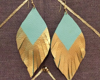 Feathered Leather Earrings Turquoise with Gold Metallic Trim