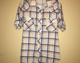 8c4840b2 Vintage Sears Western Wear snap shirt size Large 1970s