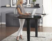 Home Office Electric Height Adjust Table Sit or Standing Desk. 24 quot x 72 quot Dark Brown Walnut Desktop and Black Umber Legs