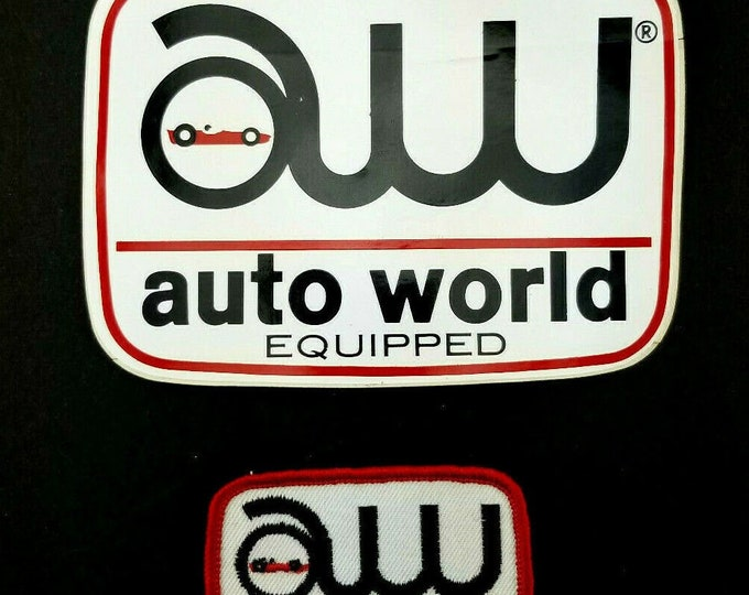 Vintage Auto World Equipped Racing Car Decal Sticker and Patch NOS bt