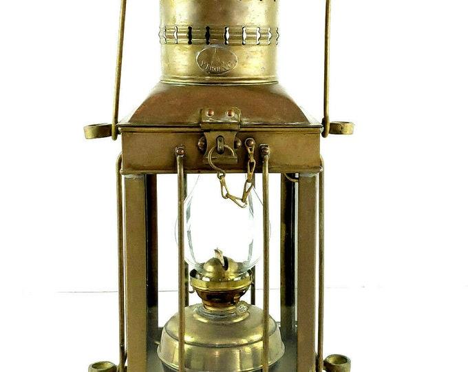 Vintage Viking Brass Ship Maritime Nautical Large Hanging Oil Lantern bt