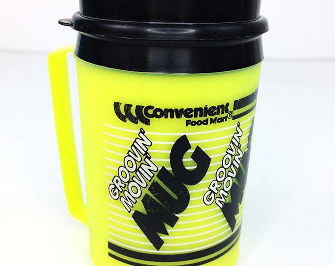 Vintage Convenient Food Mart Groovin' Movin' Neon Yellow Aladdin Thermos Mug