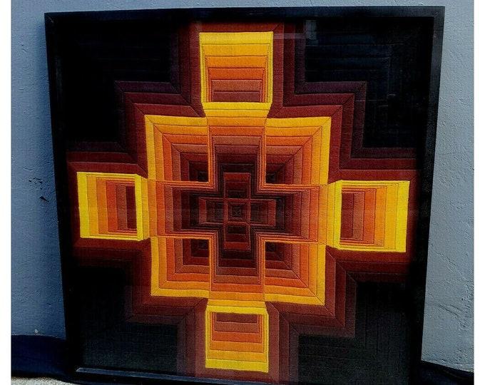 "Vintage Retro Optical Illusion Yarn Art Needlepoint Framed Under Glass 32"" x 31"""