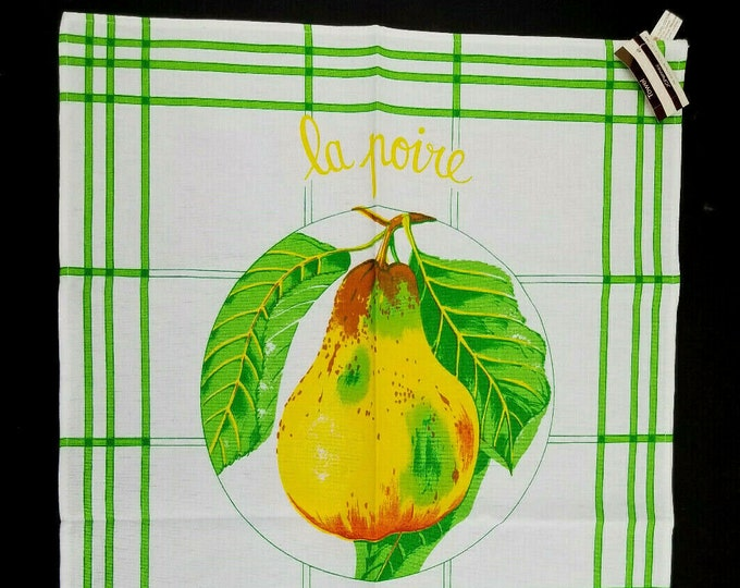 "Vintage NOS Eli ""La Poire"" Pear Green/White Tea Towel-Made Italy"