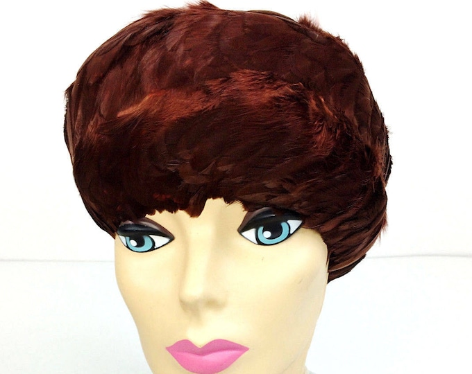 Vintage Roberta Bernays Brown Feather Wig Cloche Fascinator Helmet Hat --Free Shipping