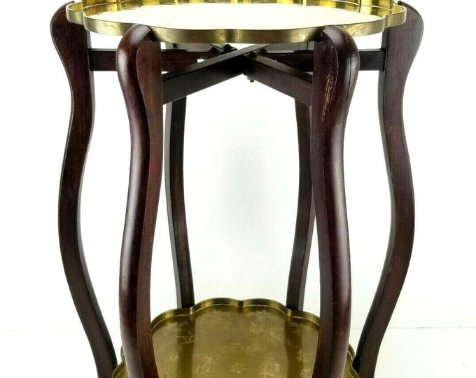 Vintage 2 Tier Engraved Brass Plate Folding Wood Side Accent Table Plant Stand