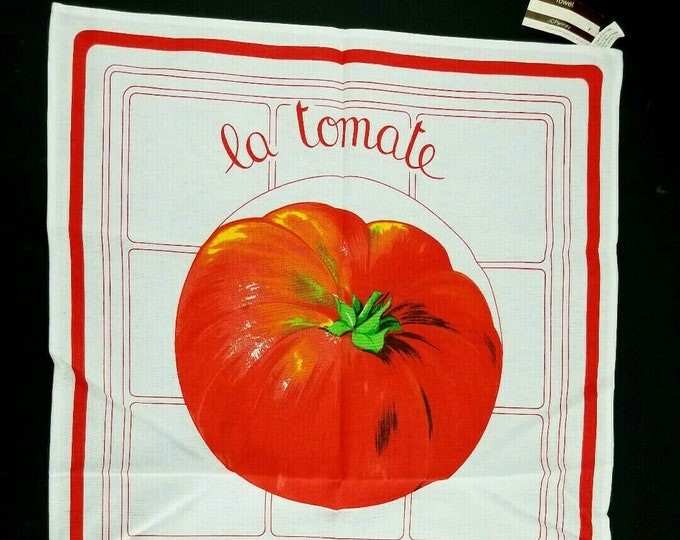 "Vintage NOS Eli ""La Tomate"" Tomato Red/White Tea Towel-Made Italy bt"