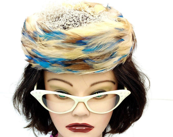 Vintage Jonquil Multi-Color Feather Pillbox Hat