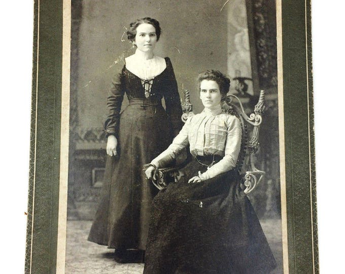 Antique Photo Cabinet Card 2 Young Lady Women by Flagg Ovid New York