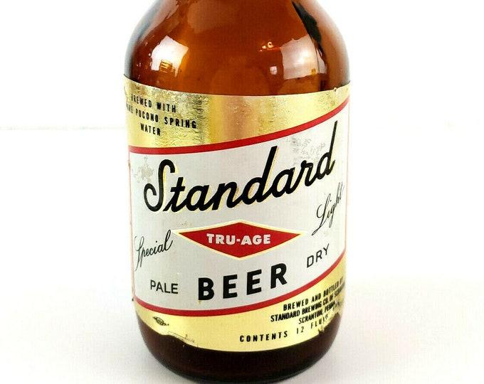 Vintage Standard Tru-Age Special Light Beer Glass Labeled 12oz Bottle Scranton PA bt