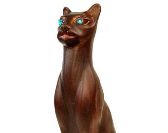 "Mid Century Vintage Holland Mold Brown Cat Blue Eyes Figurine Statue 15.5"" Tall"