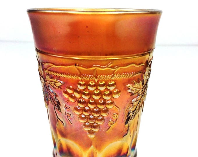 Vintage Northwood Grape & Cable Marigold Orange Carnival Glass Tumbler bt