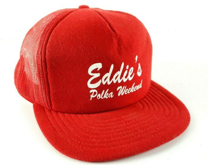 Vintage Eddie's Polka Weekend Red Fruit of the Loom Snapback Trucker Hat