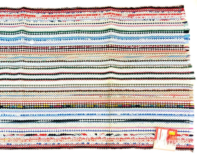 New Vintage Mid Century Multi-Color Reversible Utility Rag Throw Rug 24 x 45 bt