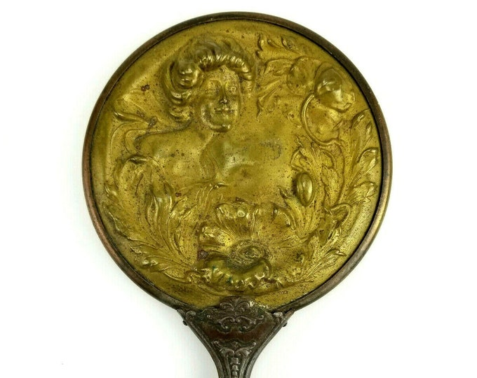 Antique Art Deco Girl w Flowers Copper Brass Hand Held Vanity Beauty Mirror bt
