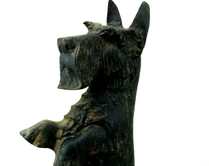 Vintage Cast Iron Mid Century JM68 Scottie Dog Door Stop Andiron 16 Inch Terrier
