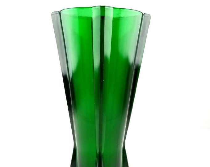 Mid Century Anchor Hocking Emerald Forest Green Atomic Rocket Glass Vase