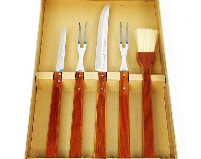 Vintage NOS Craftsman 5pc Wood Handle Stainless Steel BBQ/Carving Tool Set a1