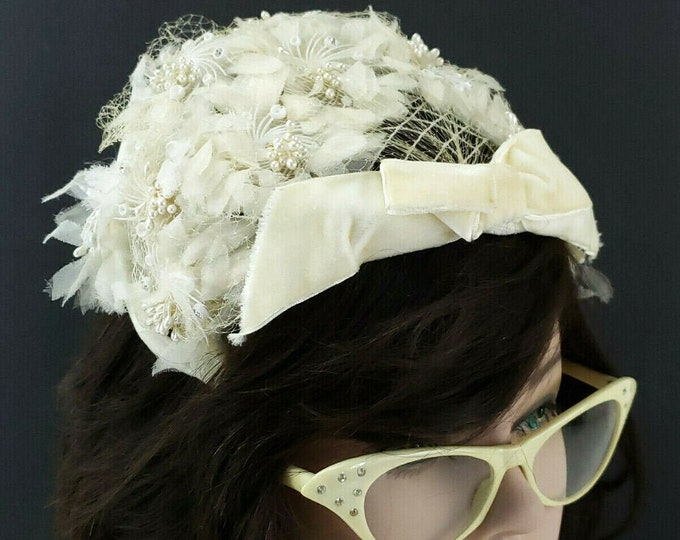 Vintage Ladies Womens White Floral Bridal Bandeau Fascinator Hat Headband