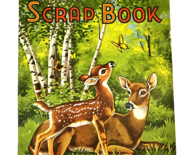 Vintage 1954 Saalfield Publishing Deer & Baby Fawn Scrap Book Unused