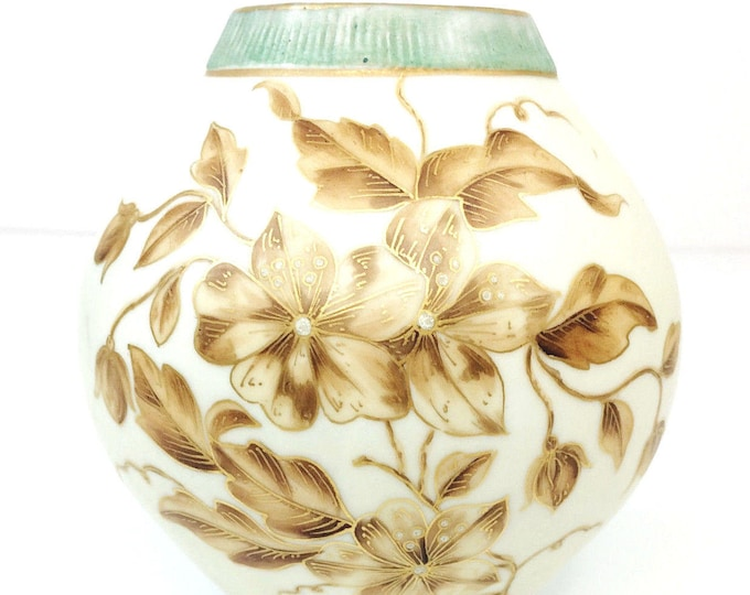 Antique L Straus & Sons Rudolstadt Ware Pottery Vase Gilt Flowers 1896-1924--Free Shipping