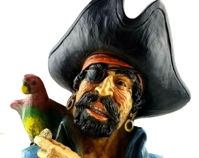 Vintage 1974 Kendrick Universal Statuary Pirate w Parrot Bust Sculpture Figure