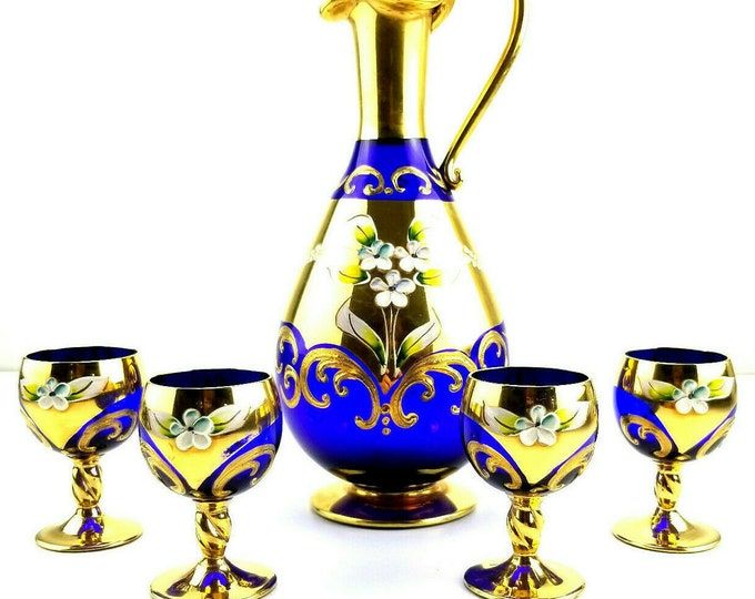 Vintage Bohemian Cobalt Blue Gold Gilt Flower Decanter 4 Cordial Glass Set bt