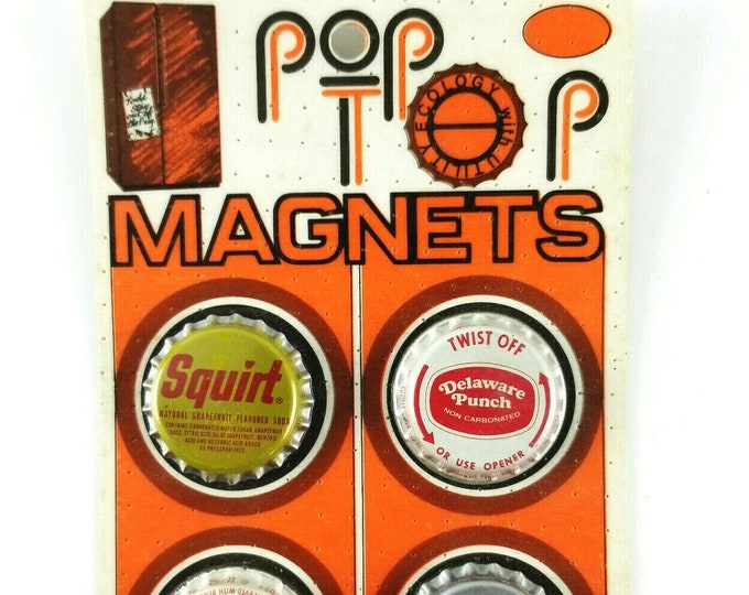 Vintage 1970s NOS 4 Soda Top Dr. Pepper/Squirt/Delaware Punch/Nesbitt's Magnets