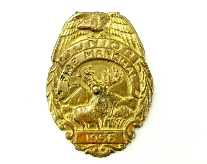 Vintage 1956 Hartford Fire Insurance Junior Fire Marshal Toy Metal Badge