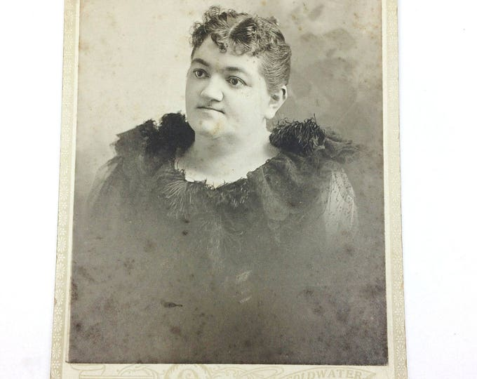 Vintage Antique Photo Cabinet Card Fancy Lady by Osborn Coldwater Michigan