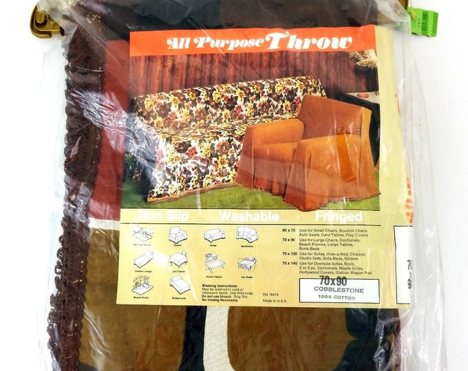 "Vintage Cobblestone Brown/Green/White Chair Throw Cover 70"" x 90"" New NOS bt"