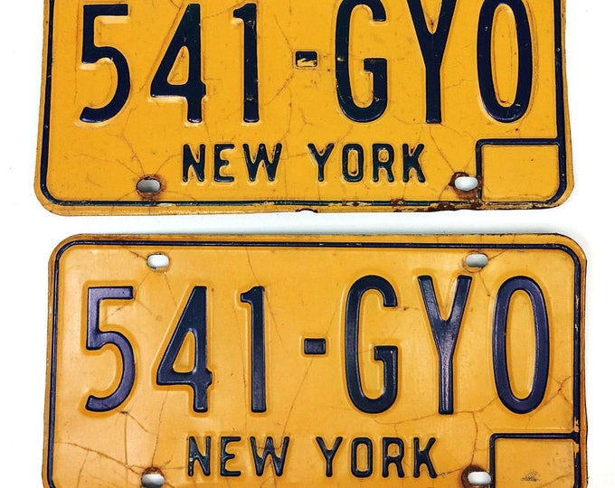 Vintage 1970s New York State NY Yellow Blue License Plate Pair #541-GYO---Free Shipping
