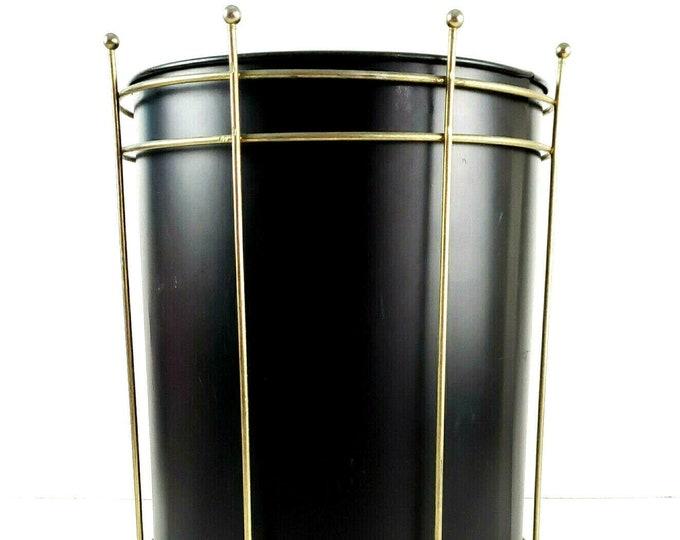 Mid Century Modern Atomic Black Gold Metal Cage Vintage Wastebasket Trash Can