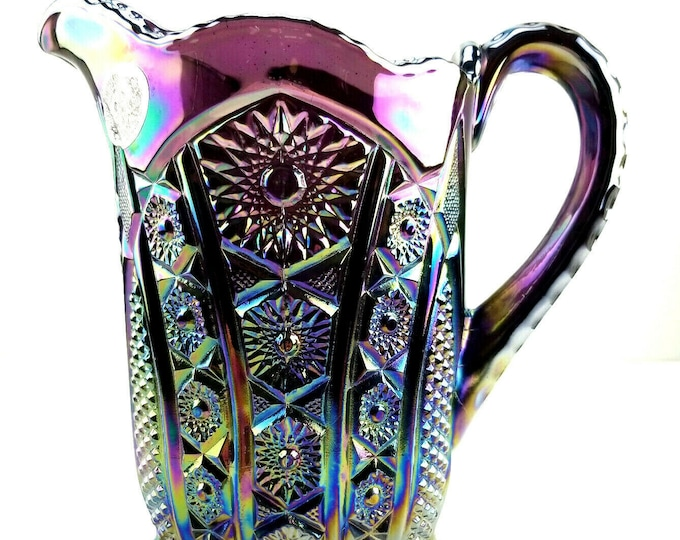 Indiana Glass Iridescent Amethyst Carnival Heirloom Paneled Daisy Pitcher bt