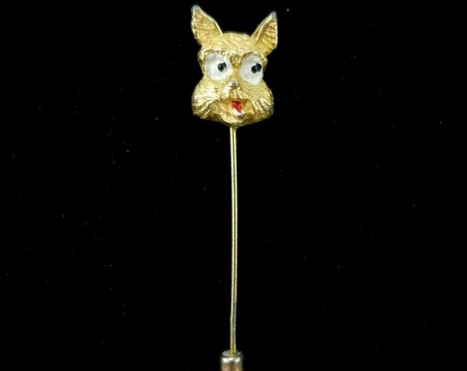 Vintage Scottie Dog Double Sided Happy Sad Face Gold Tone Lapel Stick Pin